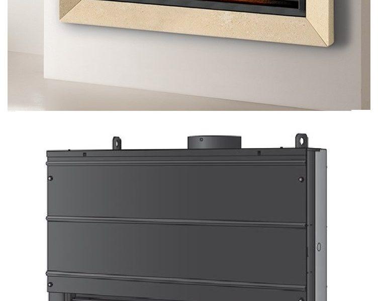 Caminetto a legna Montegrappa modello light 02 ampia visione della fiamma e anta saliscendi. Prodotto certificato 4 stelle